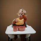Mushie Silicone Baby Bib - Peach Terrazzo