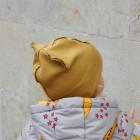Kids doublelayered beanie BEAR MUSTARD, dark yellow