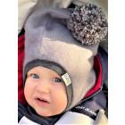 Stylish fall winter mohera wool kids HELMET with pompom grey