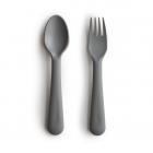 Mushie Kids Fork & Spoon Set, Smoke