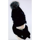 SCREW POMPOM double layered velour beanie charcoal with light fur pompom black