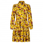 Impressive patterned female dress with strap BARCELONA yellow with burgundy flowers