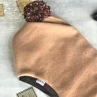 Stylish fall winter mohera wool kids HELMET with pompom SAND