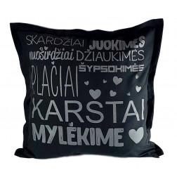 Interior pillow with print KARŠTAI MYLĖKIME, dark grey