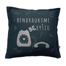 Interior pillow with print BENDRAUKIME BE RYŠIO, dark grey