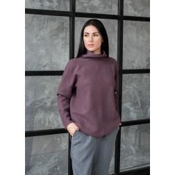 Female stylish mohair sweater, eggplant