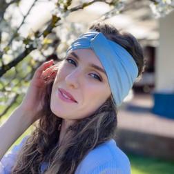 Stylish woman headband KNOT, light blue