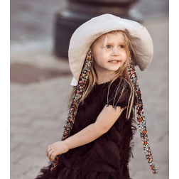 Impressive kids softened linen HAT with silky ribbons blush powder
