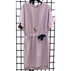 Impressive linen/viscose female dress with strap MANILA ash rose
