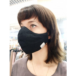 Luxurious linen female face mask, Black