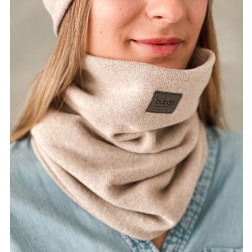 Stylish woman snood scarf for spring fall or winter - Latte