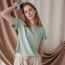 Female stylish viscose blouse TAHO with short sleeves, mint