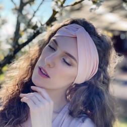 Stylish woman headband KNOT, powder