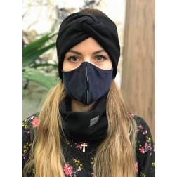 Luxurious fancy female face mask, Dark blue with streaky strip