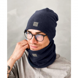 Stylish man snood scarf for spring fall or winter BUBOO luxury - Dark blue