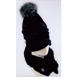 SCREW POMPOM double layered velour beanie charcoal with light fur pompom